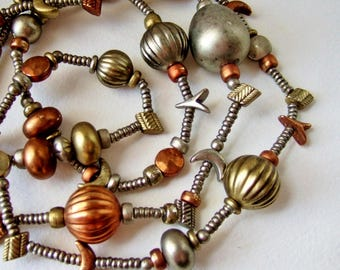 1980s Sun and Moon Necklace  - Long Bead Necklace in Silver, Gold and Copper