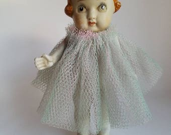 Vintage Frozen Charlotte Porcelain Bisque Doll  Made in Japan