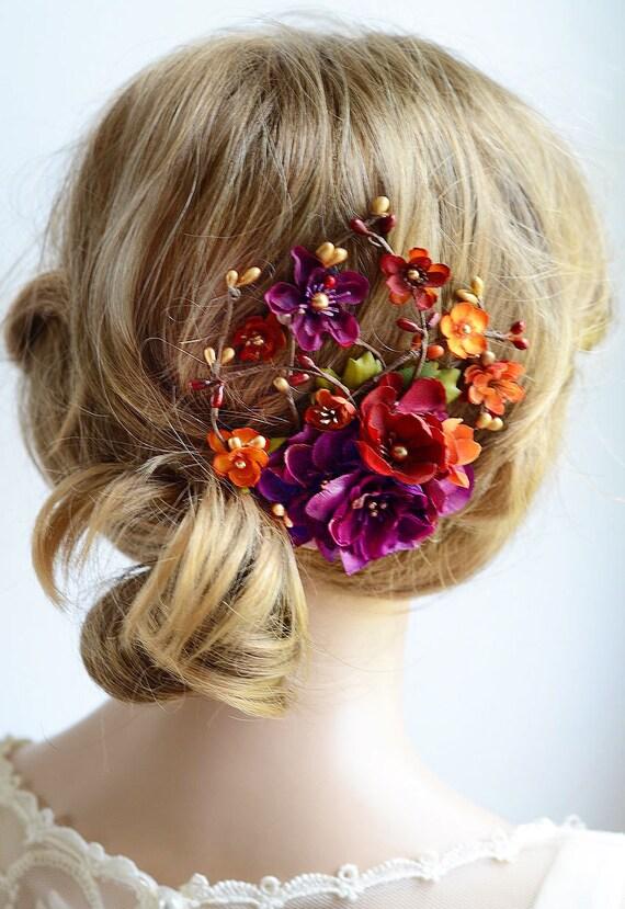 Burgundy Hair Clip Fall Hair Accessories Fall Wedding
