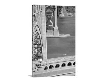 Kayak Picture, Golden Gate Bridge, Sea Kayak, Black and White, San Francisco Bay, Fort Point, Northern California, Vertical Art, Canvas Art