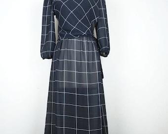 Vintage Black White Window Pane Plaid Sheer Dress 7/8 S 1980s Charlee Allison for Eljay