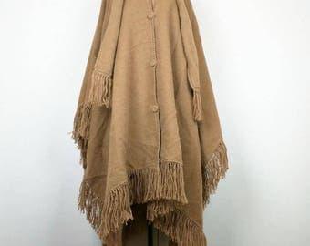Vintage Brown Baby Alpaca Poncho Cape Scarf Fringe One Size Ccahuantico Artesania Textile