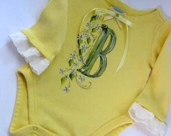 Baby Yellow Sleeper, Letter B, Upscaled Onesie, 3 months, Monogrammed, Letter B, Painted, by enfantjoli on etsy