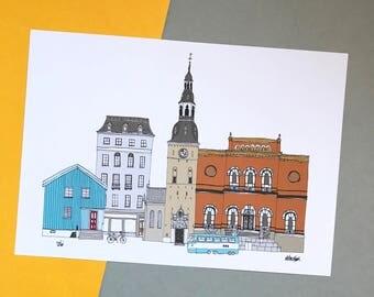 Oslo Print A4 - Oslo Cityscape - Scandinavian Print - Scandi Home Decor - Norway Print