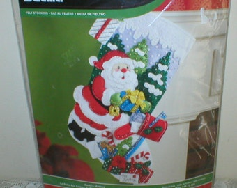 Vintage Christmas Stocking Kit BUCILLA Santa's Mailbox 18in  # 86576 New In Pack Never Been Opened