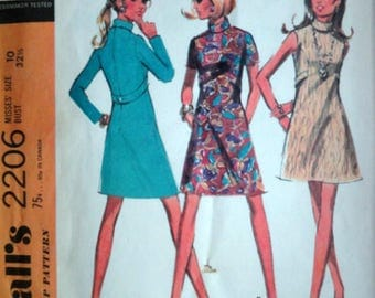 """Vintage 60's McCall's 2206 Sewing Pattern, Misses' Dress In Three Versions, Size 10, 32 1/2"""" Bust, Retro Mod 1960's Fashion"""