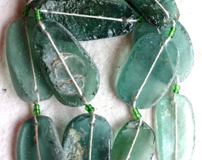 ANCIENT ROMAN GLASS No. 270 .. Genuine Antique Roman Glass Fragment Beads (rg-270)