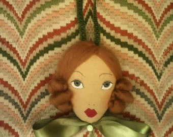 SALE Effy - With a Green Satin Bow - Doll Face Wall Hanging Decoration