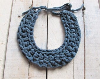 Marengo blue necklace, knitted necklace, braided necklace, bib necklace, cotton necklace, cotton jewelry, blue jewelry, tshirt yarn necklace