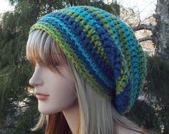 Blue and Green Slouchy Beanie, Womens Crochet Hat, Boho Slouchy Hat, Oversized Slouch Beanie, Chunky Hat, Slouch Hat, Winter Hat