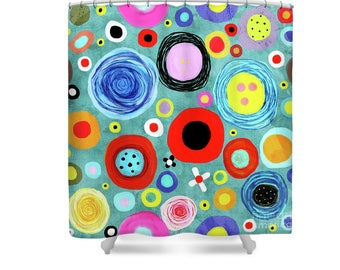 Shower Curtain - Teal Flowers Blooming Poppies