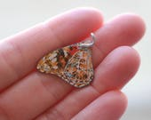 Butterfly Wing Pendant Painted Lady Watercolor Painting Art Jewelry Orange Insect