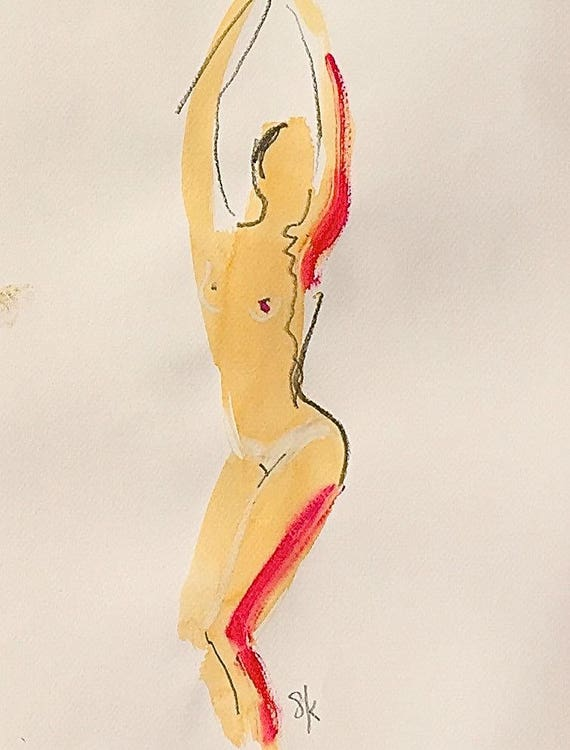 Nude painting of One minute pose 106.5 - Original nude painting by Gretchen Kelly