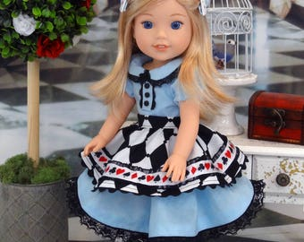 Alice in Wonderland - custom Wellie Wisher American Girl doll with wardrobe & accessories