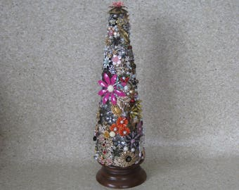 Christmas Tree Flower Vintage Jewelry Decoration Handmade Table Top 3D OOAK