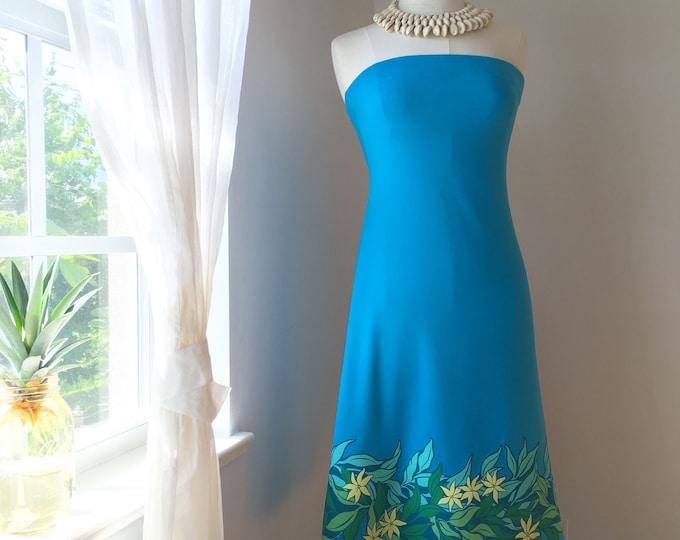 Tropical Turquoise Hawaiian Flower Sundress