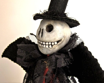Skelly Best Man - handmade skelly art doll Halloween decoration