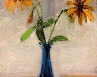 Wildflower Oil Painting, Original Painting, Sunflower Art, Wildflower Art, Yellow Decor, Black Eyed Susan painting