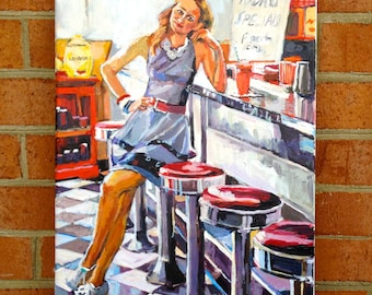 Studio Art Sale! Retro Vintage Diner. Waitress. Original Painting Girl American Diner.  Interior. Figurative Canvas painting  Gwen Meyerson