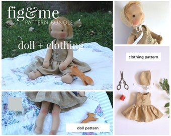 Pattern Bundle - Little Fig Doll Pattern AND Clothing, by Fig and Me.