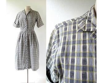 50s Day Dress   Plaid Dress   1950s Dress   Medium M