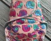 Fitted Cloth Diaper - Stay Dry Liner - Overnight Fitted - Optional Hemp or Bamboo Insert - Elephants