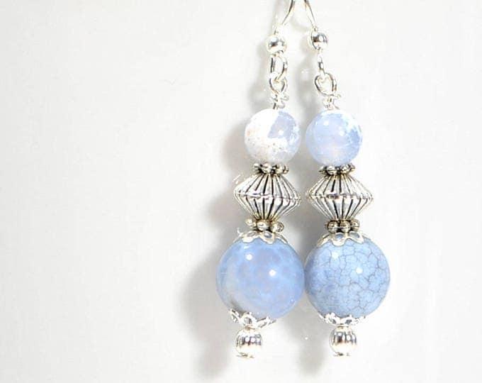 Earrings Dangle Blue Earring Small Dangle Earrings Blue Silver Earring Handmade Earrings Plated Earwire Leverback or Sterling Silver