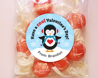Personalized Valentine Gift Tags or Stickers – 2, 2.5 or 3 Inch Circle – DIY Printable – Penguin Boy  (Digital File)