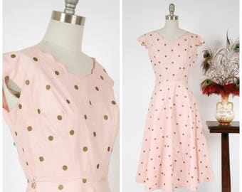 Vintage 1950s Dress - Crisp Pink Cotton Sundress with Copper Colored Polka Dots and Scalloped Collar
