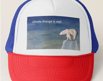 Combat Climate Change Trucker Hat, in patriotic colors of red, white and blue
