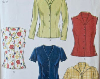 2000's New Look 6598 Sewing Pattern Misses' Blouse Shirt with Collar and Sleeve Variations Back Waist Tie UNCUT Factory Folds Sizes 8-18