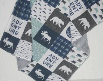 faux fur baby blanket- woodland baby blanket- faux patchwork minky baby blanket- adventure baby blanket- navy baby blanket- baby blanket