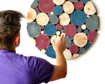 LOG MOSAIC Wall Art - picture - art work - feature - wood slice art - circular - wood craft - sculpture - modern - customise - personalize