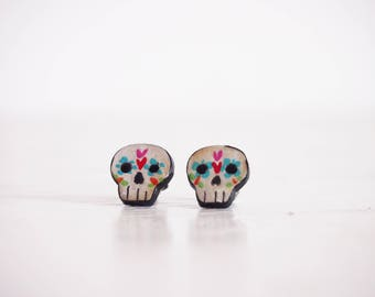 Calaveras skull earrings, dia de los muertos studs, mexican inspired earrings