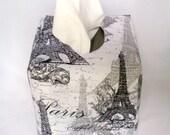 Tissue Box Cover, Washable Cotton Fabric, Boutique Size, Grey and White, Paris Design