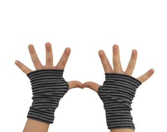 Toddler Arm Warmers in Grey and Black Stripes - Fingerless Gloves