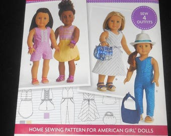 """Simplicity D0538 - Pretty DIY American Girl Summer Outfits - Jumpsuit, Romper - Easy Sew & Sweet - 18"""" Dolls - UNCUT, NEW - Doll Clothes"""