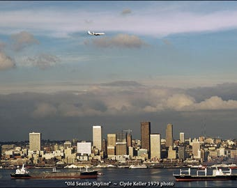 OLD SEATTLE SKYLINE, Elliott Bay, Clyde Keller 1979 photo