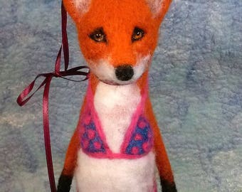 Needle-Felted Red Fox Bathing Beauty
