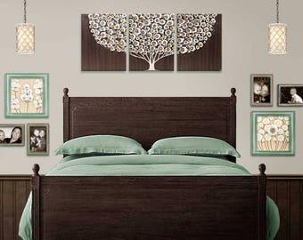 Tree Wall Decor Art Painting - Brown Three Piece Canvas - Large 50x20
