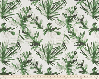 Palm Leaves Curtains, Pair of Rod Pocket Panels,  Premier Prints Frond Lubu Flax ~ Green on Oatmeal Linen -  Choose Size