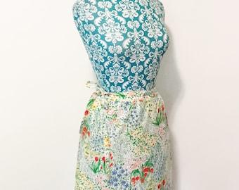 Vintage womens skirt // 1960's wrap skirt // 60's bright poppy floral print