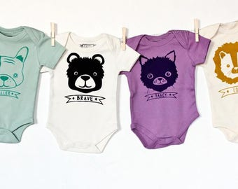Leo the Loyal - handprinted, lion organic printed baby bodysuit, funny cute baby gift, gender neutral, shower present