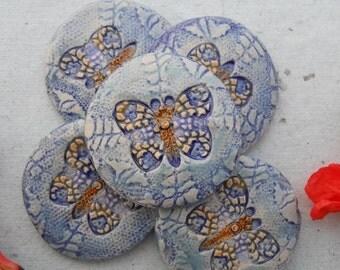 Handmade Blue Butterfly Tile Set