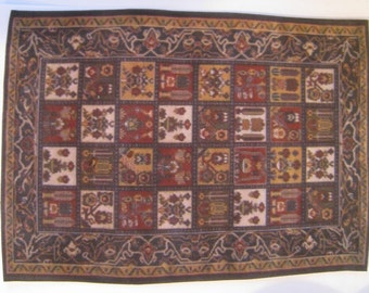 "Medieval Carpet , Heraldic crests, 4.5"" X 5 1/2"" "", Tudor carpet, Tudor accessory, Tudor floor coverying,  twelfth scale, dollhouse mini"
