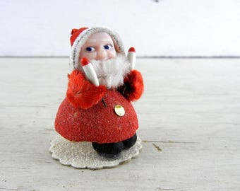 Vintage Christmas Pixie Gnome | Red Christmas Pixie | Christmas Pixie Figurine