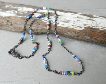 Color Stripe and Solid Vintage Glass Venetian African Trade Bead & Chain Layering Necklace