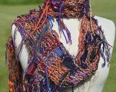 NEW Knit Scarf 'Clockwork Orange', Long Knit art Scarf, Multitextural Fringe Handknit Scarf in copper blue gold purple orange, boho scarf