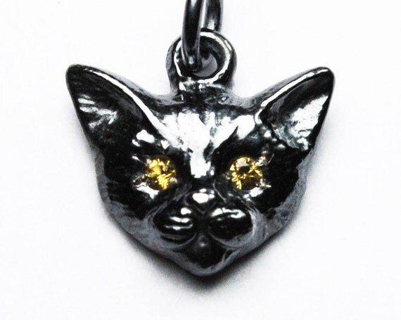 Blackened Sterling Silver Kitty Cat Charm with Yellow Sapphire or Citrine Eyes
