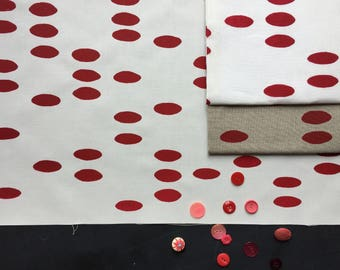 raspberry pebble hand screen printed fabric panel